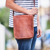 Midi leather messenger bag in tan brown