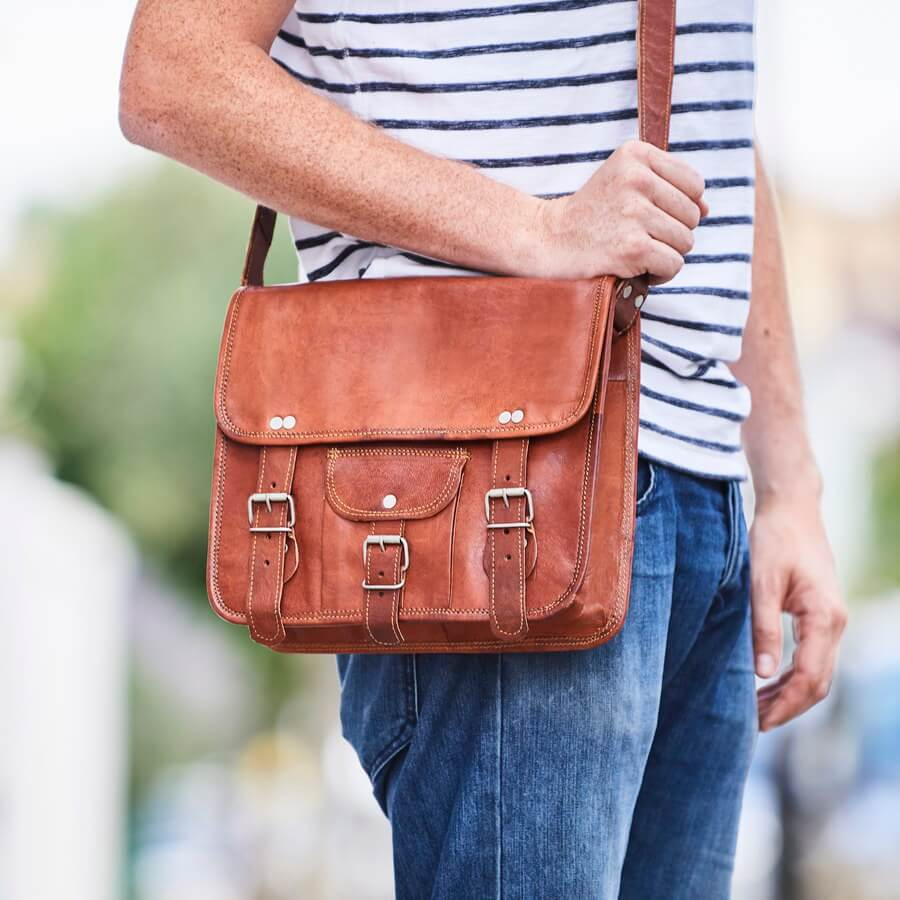 Men's Small Leather Satchel with Front Pocket