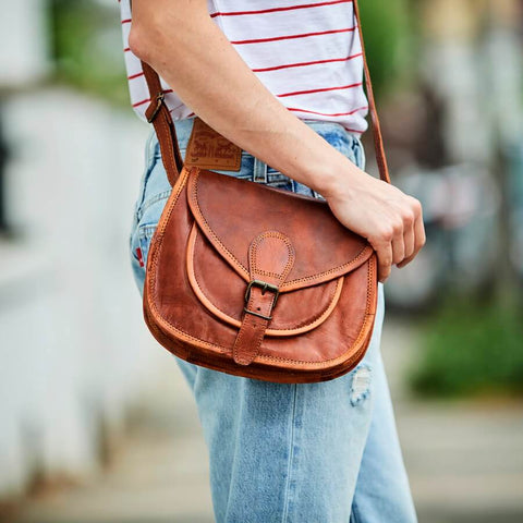 Vintage leather saddle bag in tan