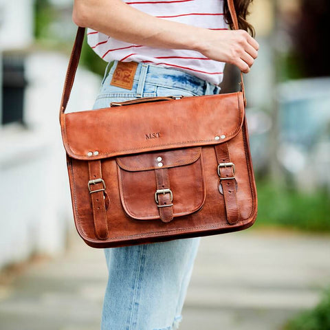 Vintage leather satchel with pocket and handle