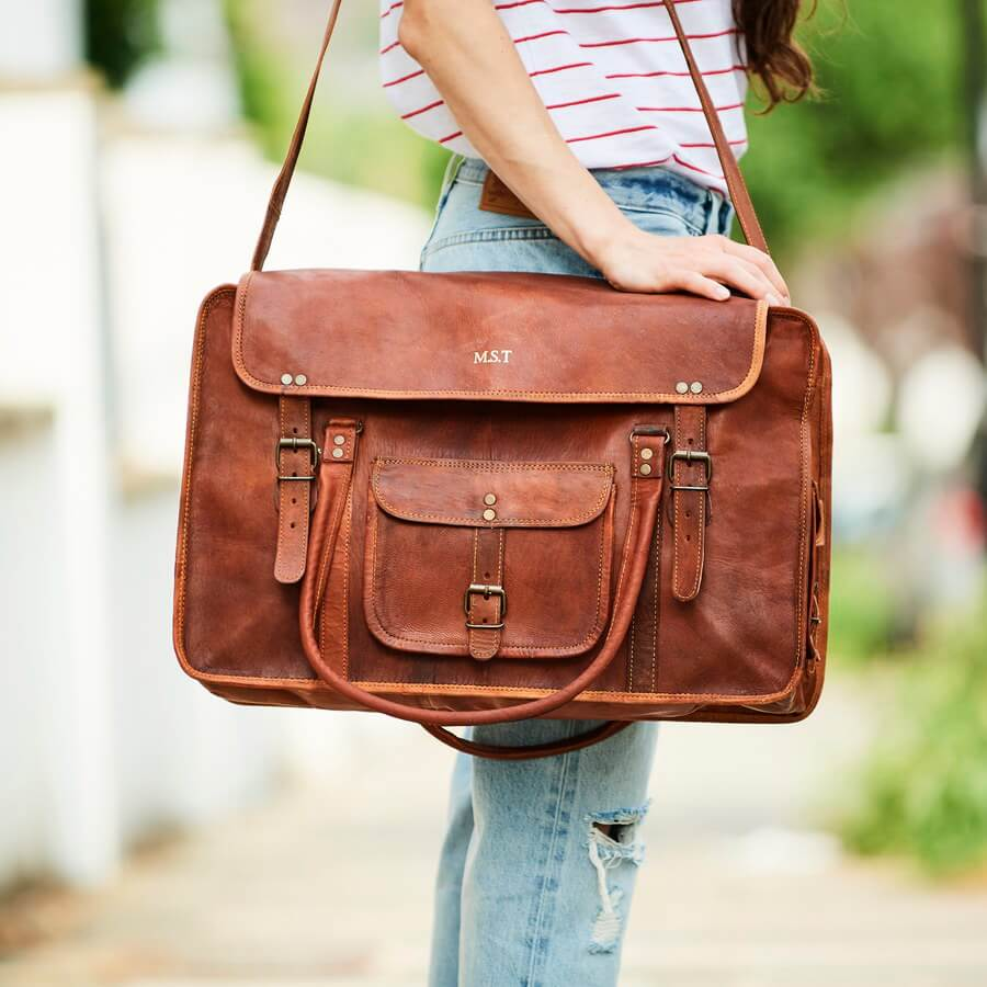 Extra large vintage tan leather weekend bag