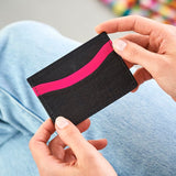 leather credit card holder black pink