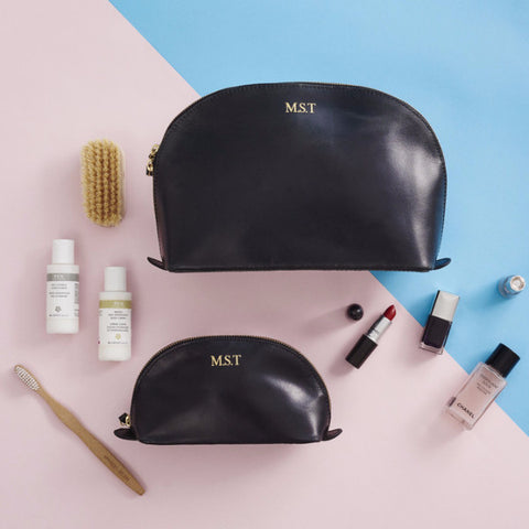 Black embossed leather wash bag and maekup bag set