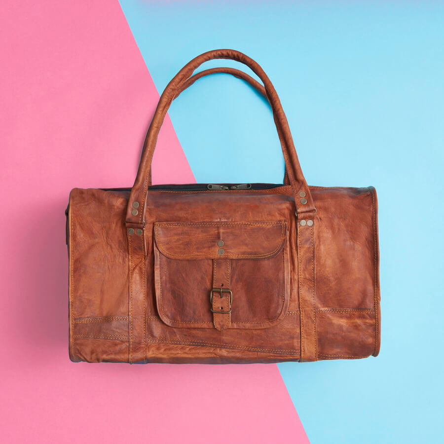 Leather duffel overnight bag