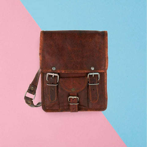 Mini leather satchel with front pocket in tan leather