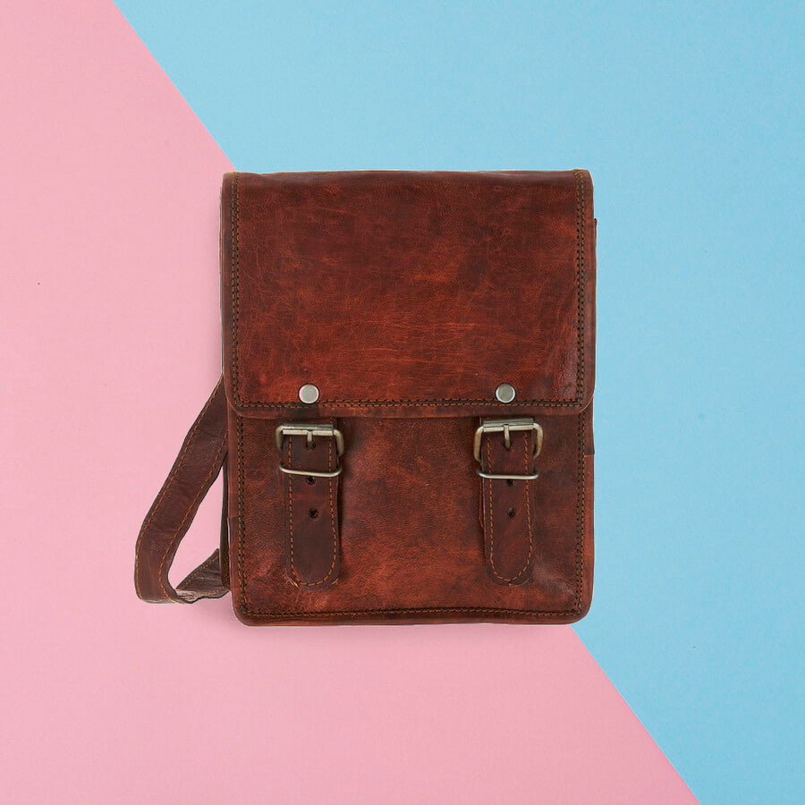 Mini long leather satchel without pocket