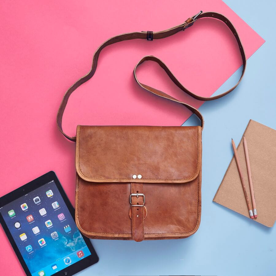 Mid leather satchel for iPad or handbag