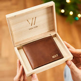 Personalised Coin Wallet In Engraved Wooden Box