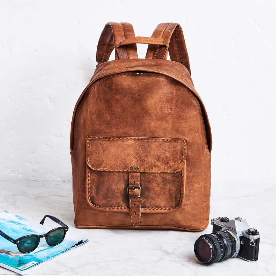 Men's Zip Round Leather Backpack