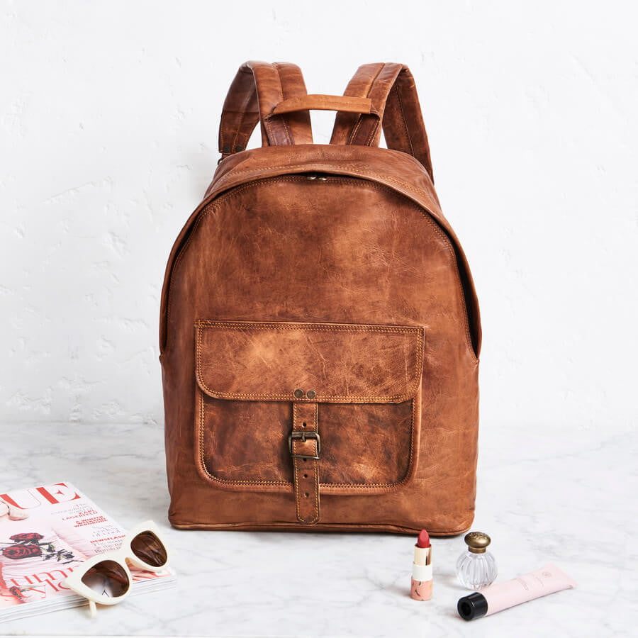 Round end backpack for women in tan leather