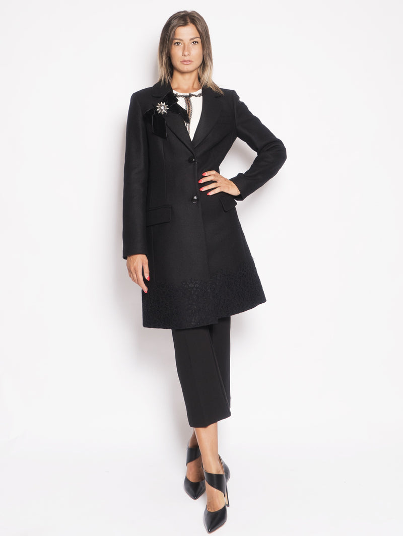 TWIN SET-Cappotto con Pizzo Nero-TRYME Shop