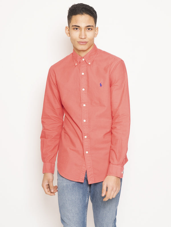 RALPH LAUREN-Camicia Custom Fit Rosso-TRYME Shop