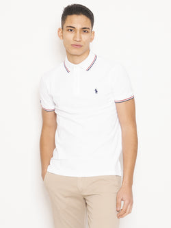 RALPH LAUREN-Polo in Cotone Custom Slim Fit Bianco-TRYME Shop