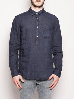 ROY ROGERS-Camicia in Lino Blu-TRYME Shop