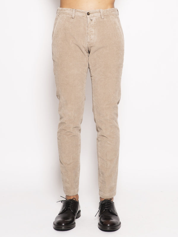 BRIGLIA 1949-Pantaloni in velluto regular Beige-TRYME Shop