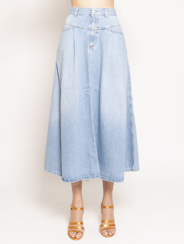 CLOSED-Gonna con Pences in Denim Blu-TRYME Shop