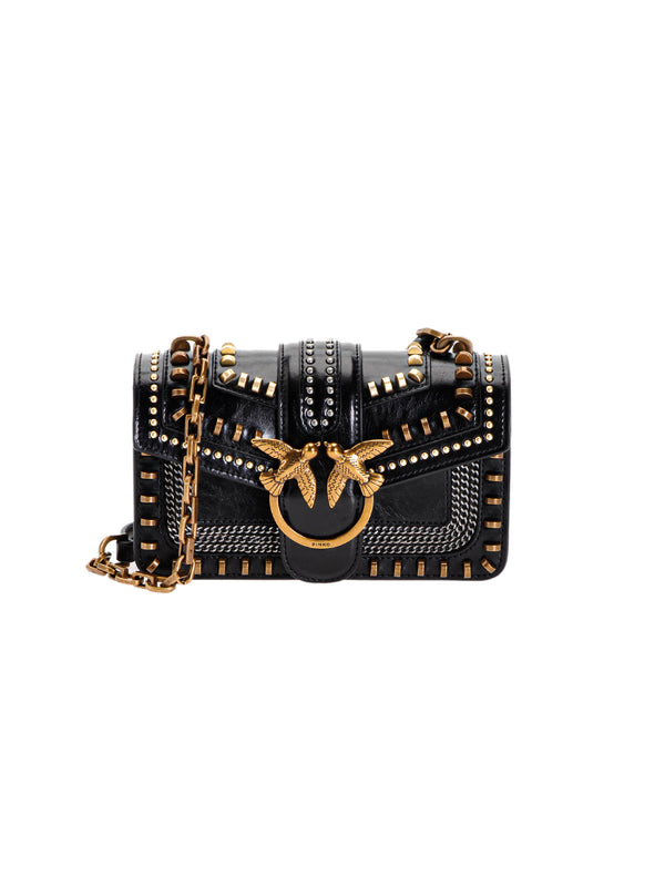 PINKO-Borsa Mini Love Bag Mix Studs Nero-TRYME Shop