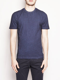 Alpha Studio-T-shirt in cotone e lino Blu-TRYME Shop