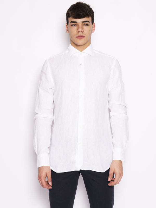 Camicia in lino old storm Bianco