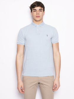 RALPH LAUREN-Polo in Piqué Slim-Fit Celeste-TRYME Shop