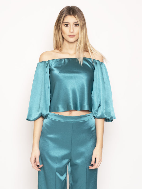 PINKO-Blusa in Satin Mousse 1 Verde-TRYME Shop