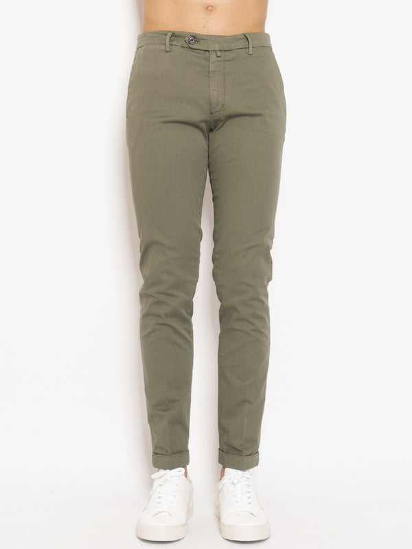 40 WEFT-Chino in Cotone Verde-TRYME Shop