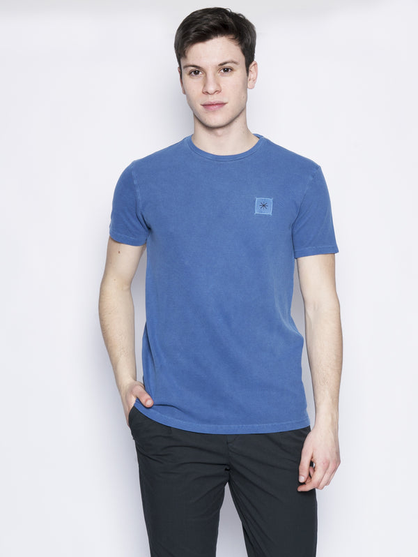 MANUEL RITZ-T-shirt in cotone piquet Blu-TRYME Shop