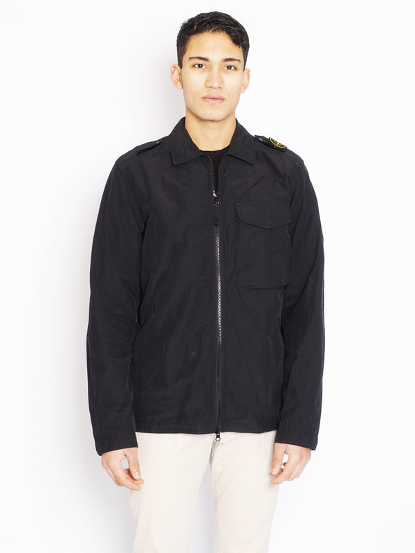 STONE ISLAND-Camicia Overshirt in Naslan Light Nero-TRYME Shop