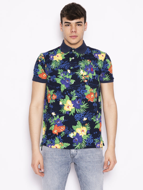 Polo Custom slim fit men  'Caribbean floral' Navy multicolor