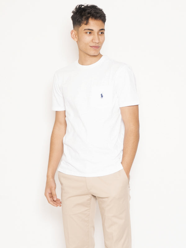 RALPH LAUREN-T-shirt con Taschino Bianco-TRYME Shop