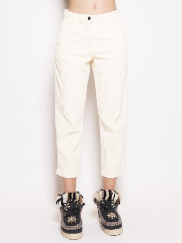 WOOLRICH-Pantaloni in Velluto a Coste Bianco-TRYME Shop
