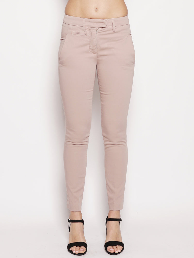 dondup-Pantaloni chino in cotone stretch Rosa antico-TRYME Shop