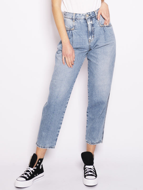 CLOSED-Jeans Over con Pinces Mid Blu-TRYME Shop