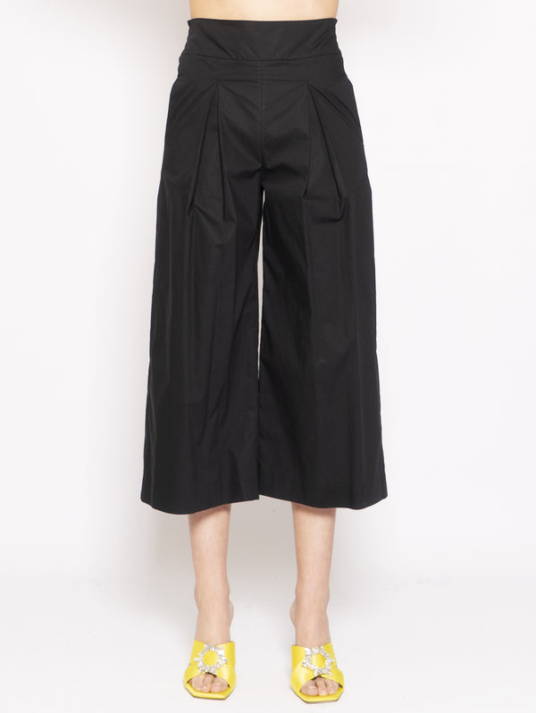 PINKO-Pantaloni Cropped in Popeline Nero-TRYME Shop