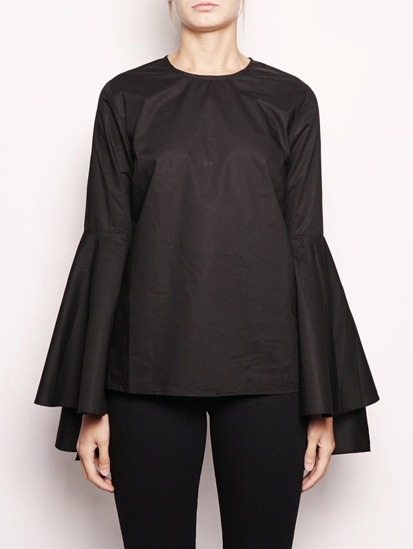 Blusa con volant - OLLERY1 Nero-Top-ESSENTIEL-TRYME Shop