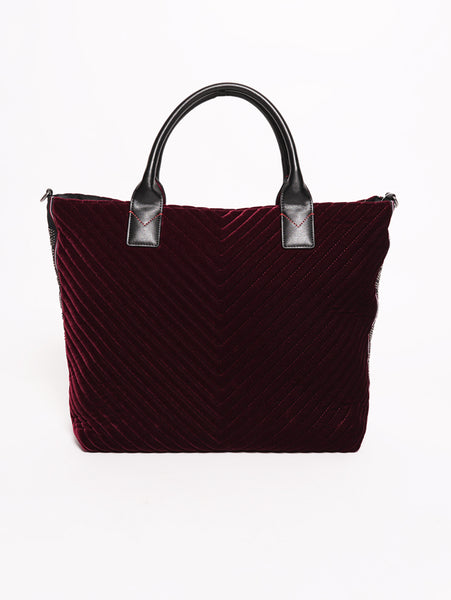 Pinko Ararat - Shopping bag in velluto con banda logata di borchie Bordeaux Trymeshop.it