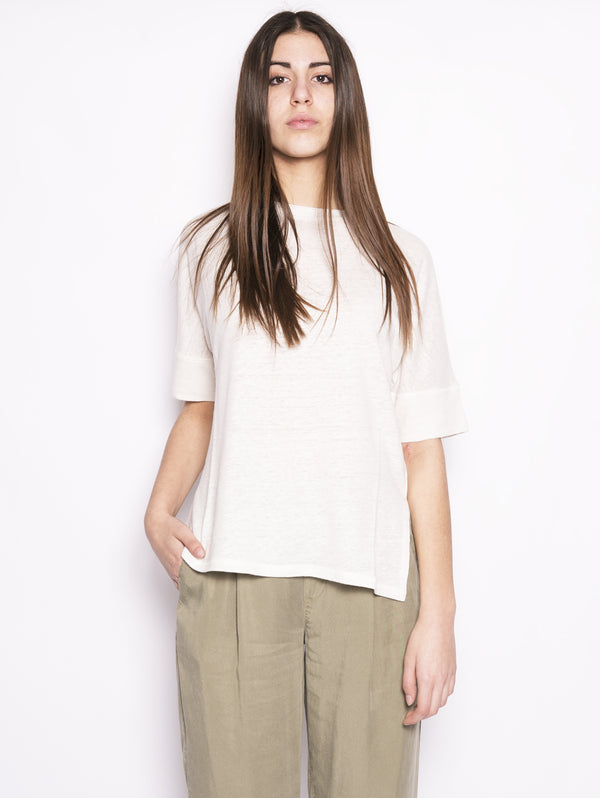WOOLRICH-T-shirt in lino Bianco-TRYME Shop