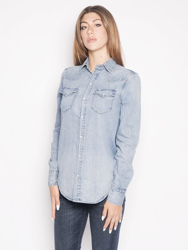 RALPH LAUREN-Camicia Western in Denim Blu-TRYME Shop