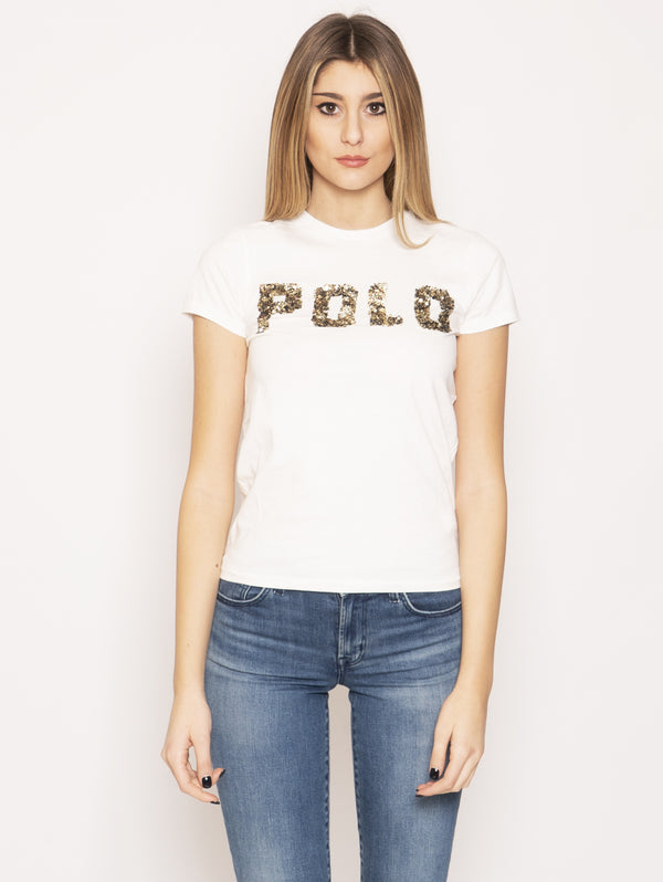 RALPH LAUREN-T-shirt con Paillettes Bianco-TRYME Shop