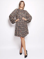Abito midi in fantasia - Rachid Long Sleeved Dress Nero