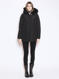 WOOLRICH-Giaccone ramar in faux fur Nero-TRYME Shop