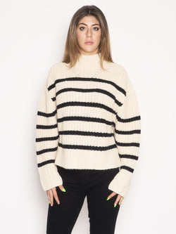 ESSENTIEL-Maglione a Righe Beige-TRYME Shop