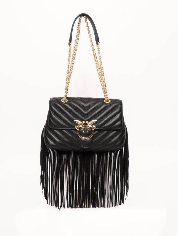 PINKO-Borsa con Frange Love Bag Puff Nero-TRYME Shop