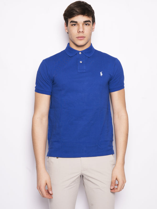 RALPH LAUREN-Polo in Cotone Slim-Fit Royal-TRYME Shop