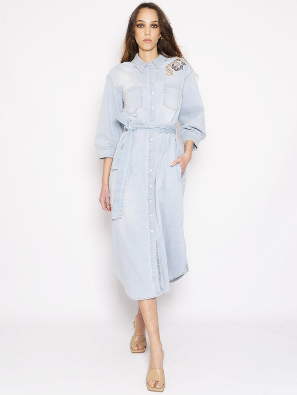 TWIN SET-Abito Camicia in Denim Chiaro-TRYME Shop