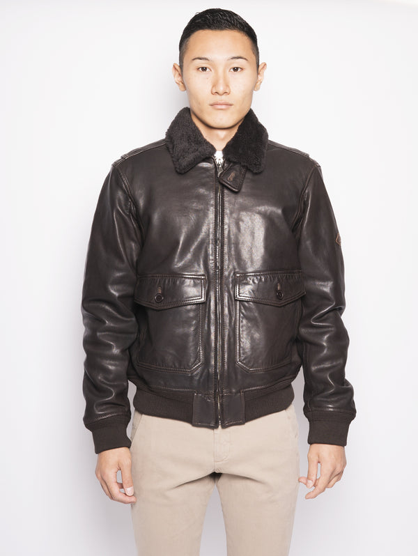 ROY ROGERS-Bomber con Collo in Shearling-TRYME Shop