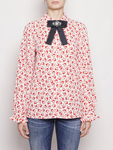ESSENTIEL BLUSA - POLICE LONG SLEEVED SHIRT Bianco / Rosso Trymeshop.it