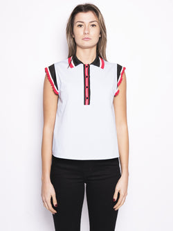 PINKO-Polo in Popeline Stretch Apatico Celeste-TRYME Shop