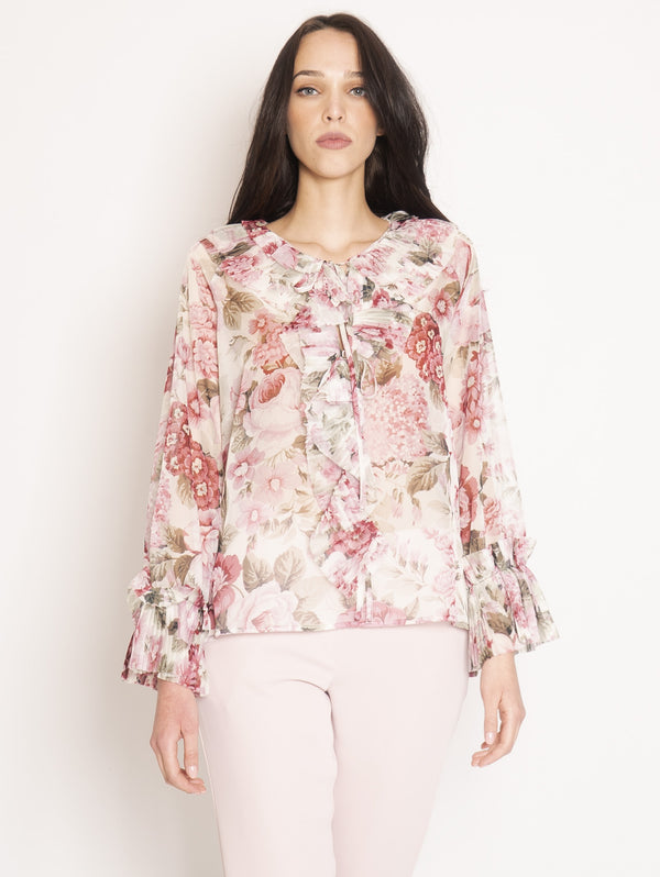 P.A.R.O.S.H.-Blusa in Chiffon con Rouches Multicolor-TRYME Shop