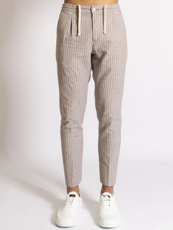 OAKS-Pantaloni con Coulisse a Righe Beige-TRYME Shop